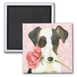 Valentine Rose Smooth Fox Terrier Square Magnet