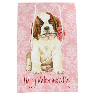 Valentine Rose St. Bernard Medium Gift Bag
