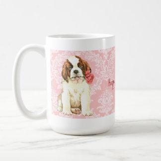 Valentine Rose St. Bernard Basic White Mug