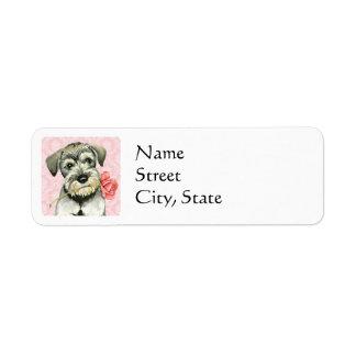 Valentine Rose Standard Schnauzer Return Address Label