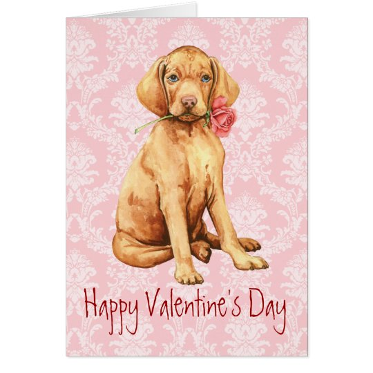 Valentine Rose Vizsla Card