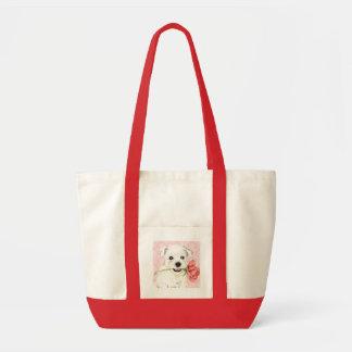 Valentine Rose Westie Tote Bag