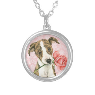 Valentine Rose Whippet Silver Plated Necklace