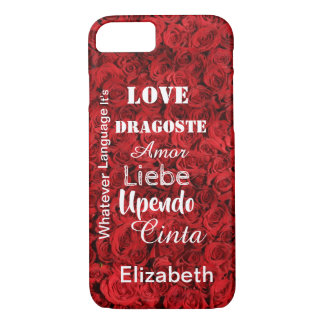 Valentine Roses in any language to personalize iPhone 8/7 Case