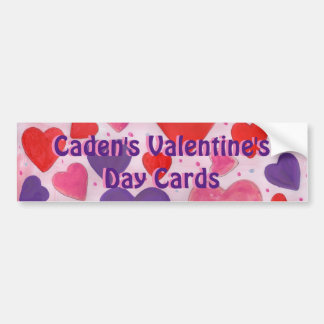 Valentine's Day Cards Hearts in Pink, Purple & Red Bumper Sticker