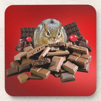 Valentine's Day Chocolate Chipmunk Coaster