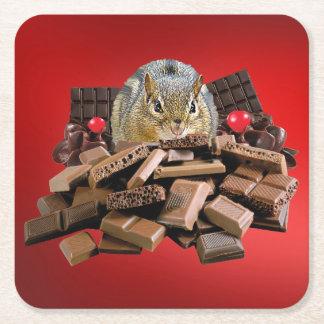 Valentine's Day Chocolate Chipmunk Square Paper Coaster