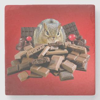 Valentine's Day Chocolate Chipmunk Stone Coaster