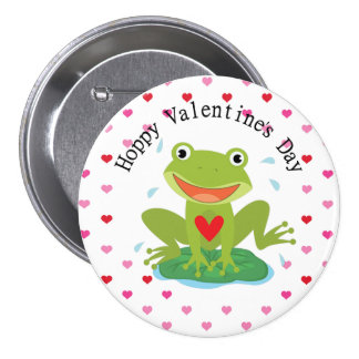 Valentine s Day Cute Frog on Lily Pad Buttons