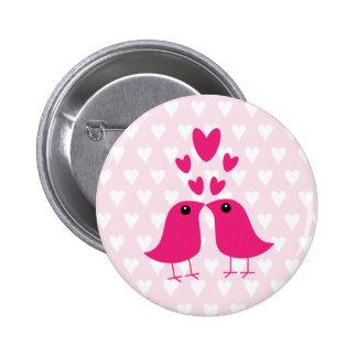 Valentine s day gift birds love hearts button pin
