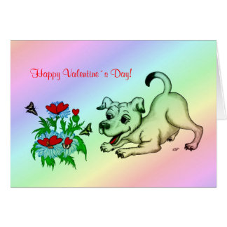 Valentine´s Day, Heart, Flower, Puppy & Butterfly Greeting Card