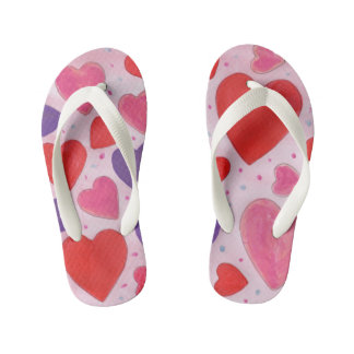 Valentine's Day Hearts in Pink, Purple & Red Kid's Thongs