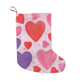 Valentine's Day Hearts in Pink, Purple & Red Small Christmas Stocking