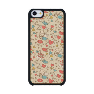 Valentine s Day Pattern with Cupid Carved® Maple iPhone 5C Case