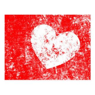 Valentine' s Day Postcard with grunge white heart