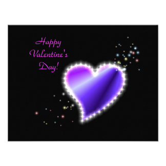 Valentine s Day -Rainbow Heart with Stars on black Personalized Invitation