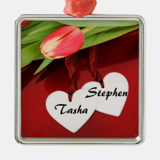 Valentine s day Sweetheart Gift Square Metal Christmas Ornament