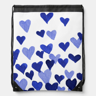 Valentine's Day Watercolor Hearts – blue Drawstring Bag