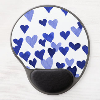 Valentine's Day Watercolor Hearts – blue Gel Mouse Pad