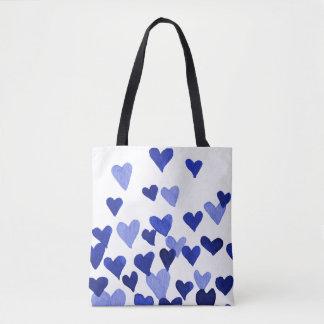 Valentine's Day Watercolor Hearts – blue Tote Bag
