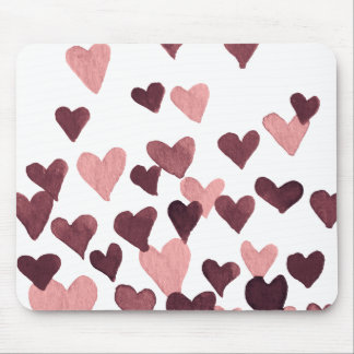 Valentine's Day Watercolor Hearts – dark pink Mouse Pad