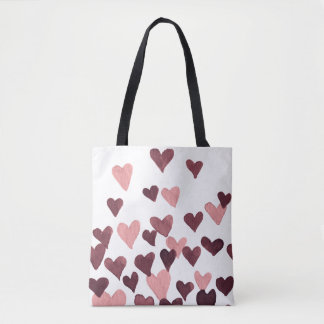 Valentine's Day Watercolor Hearts – dark pink Tote Bag