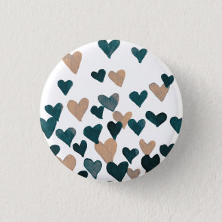 Valentine's Day Watercolor Hearts – neutral 3 Cm Round Badge