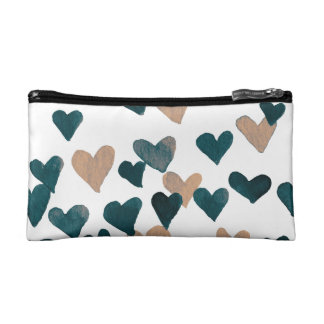 Valentine's Day Watercolor Hearts – neutral Cosmetic Bag