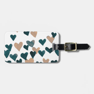 Valentine's Day Watercolor Hearts – neutral Luggage Tag