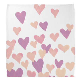 Valentine's Day Watercolor Hearts – pastel pink Bandana