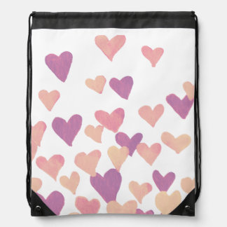 Valentine's Day Watercolor Hearts – pastel pink Drawstring Bag