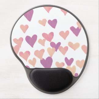 Valentine's Day Watercolor Hearts – pastel pink Gel Mouse Pad