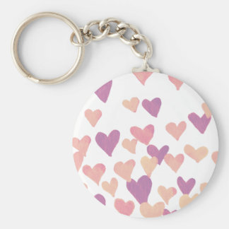 Valentine's Day Watercolor Hearts – pastel pink Key Ring