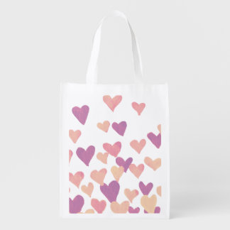 Valentine's Day Watercolor Hearts – pastel pink Reusable Grocery Bag