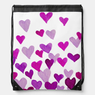 Valentine's Day Watercolor Hearts – purple Drawstring Bag