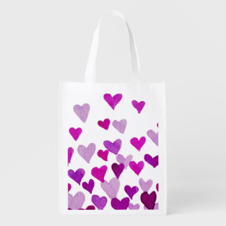 Valentine's Day Watercolor Hearts – purple Reusable Grocery Bag