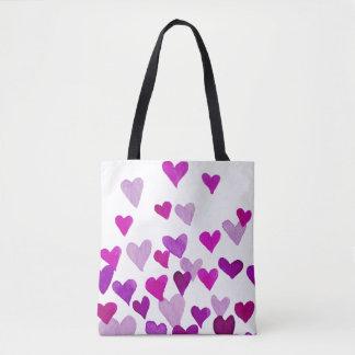 Valentine's Day Watercolor Hearts – purple Tote Bag