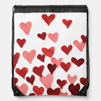 Valentine's Day Watercolor Hearts – red Drawstring Bag