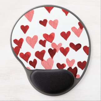 Valentine's Day Watercolor Hearts – red Gel Mouse Pad