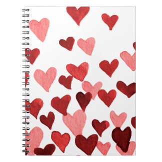 Valentine's Day Watercolor Hearts – red Notebook