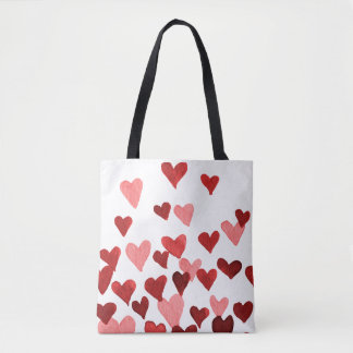 Valentine's Day Watercolor Hearts – redCute waterc Tote Bag