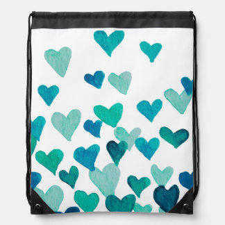 Valentine's Day Watercolor Hearts – turquoise Drawstring Bag