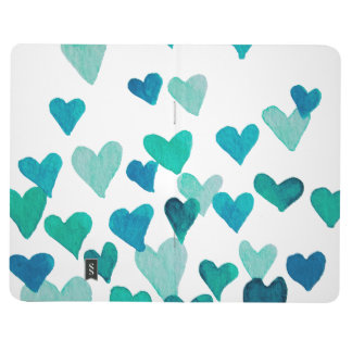 Valentine's Day Watercolor Hearts – turquoise Journal