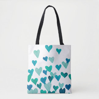 Valentine's Day Watercolor Hearts – turquoise Tote Bag