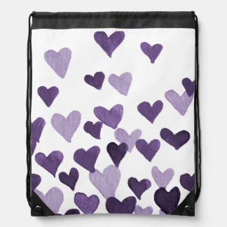 Valentine's Day Watercolor Hearts – ultra violet Drawstring Bag