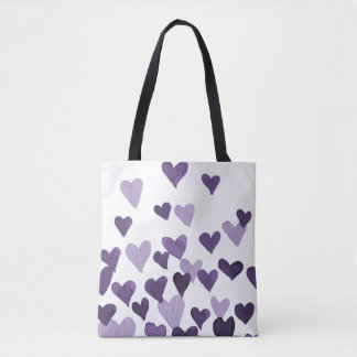Valentine's Day Watercolor Hearts – ultra violet Tote Bag