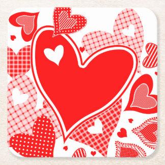 Valentine's Hearts Square Paper Coaster