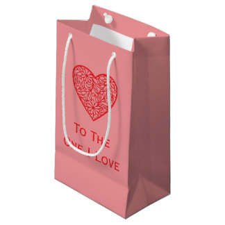 "Valentine's ""To the One I Love"" Heart Small Gift Bag"