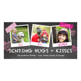 Valentine Sending Hugs and Kisses Personalized Photo Card