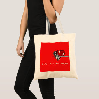 """Valentine Special """"i skip a beat when i see you"""" Tote Bag"""